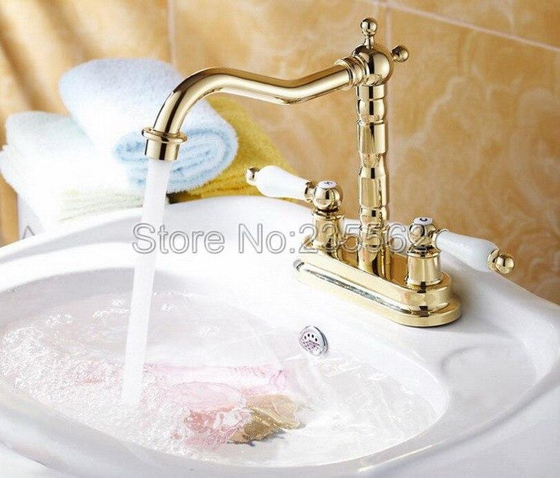 Luxus Gold Farbe Messing Dual Loch Deck Montiert Wasserhahn Spüle Mixer Bad Wasserhahn Taps Dual Keramik Griff lnf262