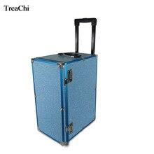 Grande capacité maquillage valise bijoux boîte de rangement 10 tiroir bijoux montre bracelet de rangement valise chariot de voyage avec roues universelles