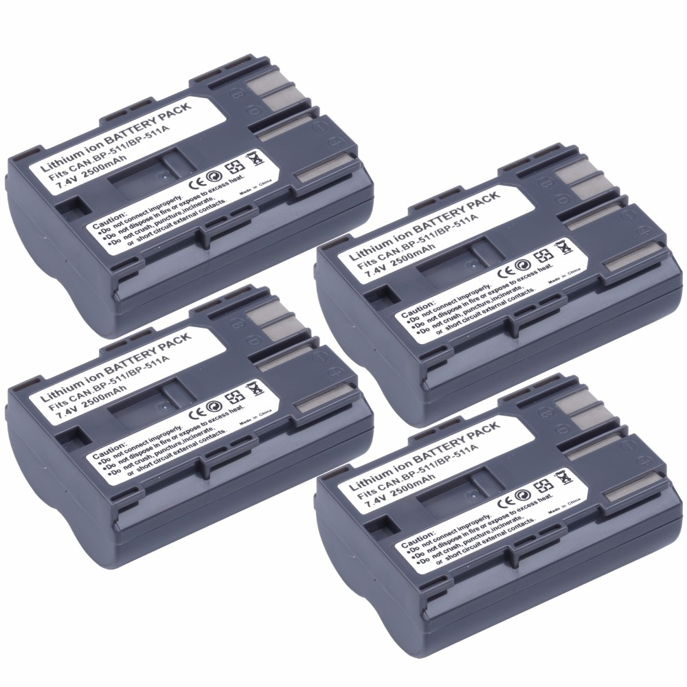 4 Uds 2500mAh BP-511 BP511A batería para Canon EOS 10D 20D 20Da...
