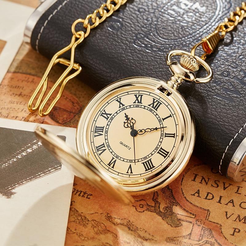 Antique Steampunk Vintage Roman Numerals Quartz Pocket Watch Multicolor Case Necklace Pendant Clock