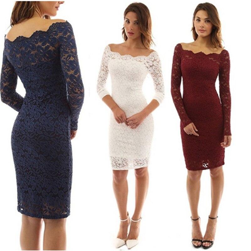 Платье женское до колена кружевное с длинным рукавом