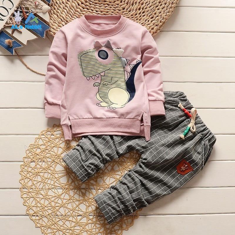 2019 spring autumn kids cartoon banner dragon clothing set boy and girls casual long sleeves t-shirt+plaid pants 2pcs/set  new
