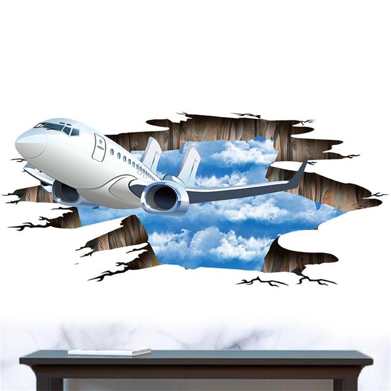 3D настенные Стикеры с изображением голубого неба и облаков летательных аппаратов для детей, детские комнаты, постер, украшение на крышу, потолок, Наклейки на стены, самолет, пол, художественная роспись