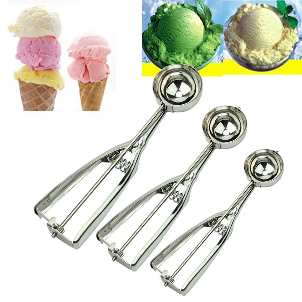 3 uds Acero inoxidable masa de helado cuchara para papa galleta Magdalena masa cuchara para boda Navidad Fiesta cocina herramientas