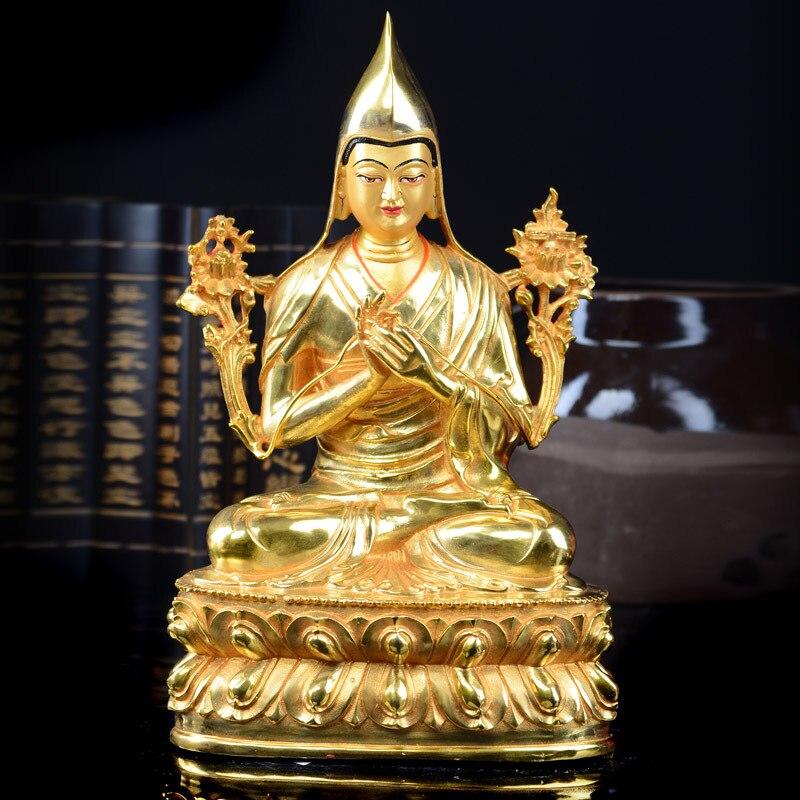 Buda 32CM al por mayor-talismán casero protección eficaz tibetano Gelug budismo Tsongkhapa estatua de figura de Buda bañada en oro