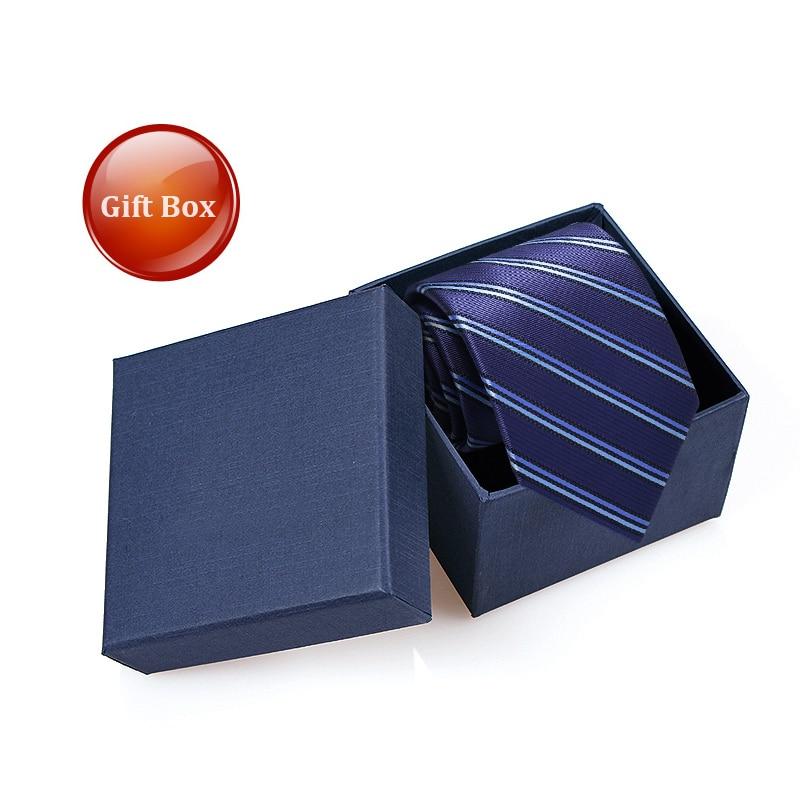 Luxury Blue Striped Ties for Men Business Coffee 8cm Wide Tuxedo Suit Necktie Wedding Party Mens Ties Corbatas with Tie Gift Box