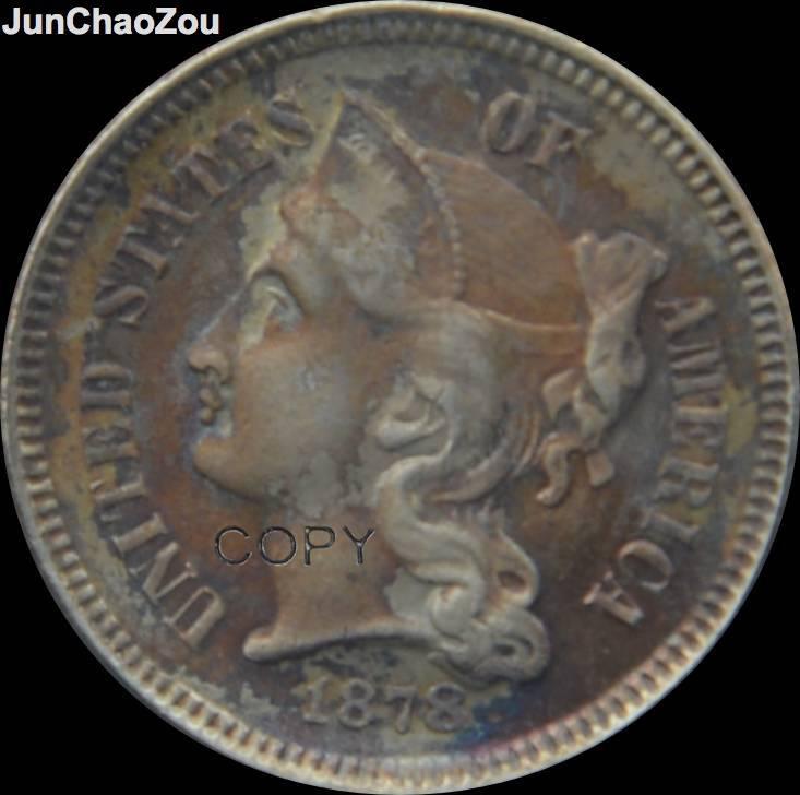 Vereinigten Staaten Von Amerika 1878 Drei Cent Nickel Überzogene Replik Münzen