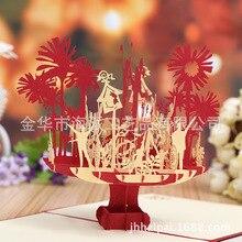 Fabricantes directos joy one familia estéreo creativo láser hueco tarjeta de cumpleaños logotipo personalizado tarjetas de felicitación