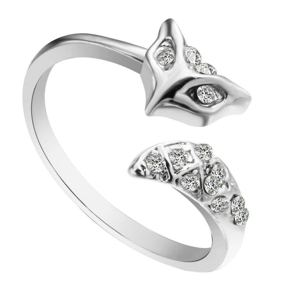 QIAMNI Circonia cúbica brillante pavé Set cara de zorro cola Animal anillo abierto banda genial joyería boda fiesta regalo para chicas mujeres