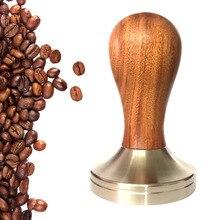Tampón de café Espresso de madera caliente 51mm/58mm Base plana de acero inoxidable NDS66