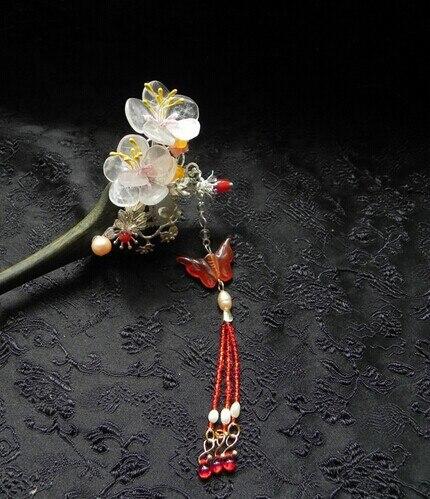 صندل خشبي أخضر مصنوع يدويًا ، إكسسوار شعر على شكل زهرة جانبية ، عتيق ، عصا شعر ، مجوهرات