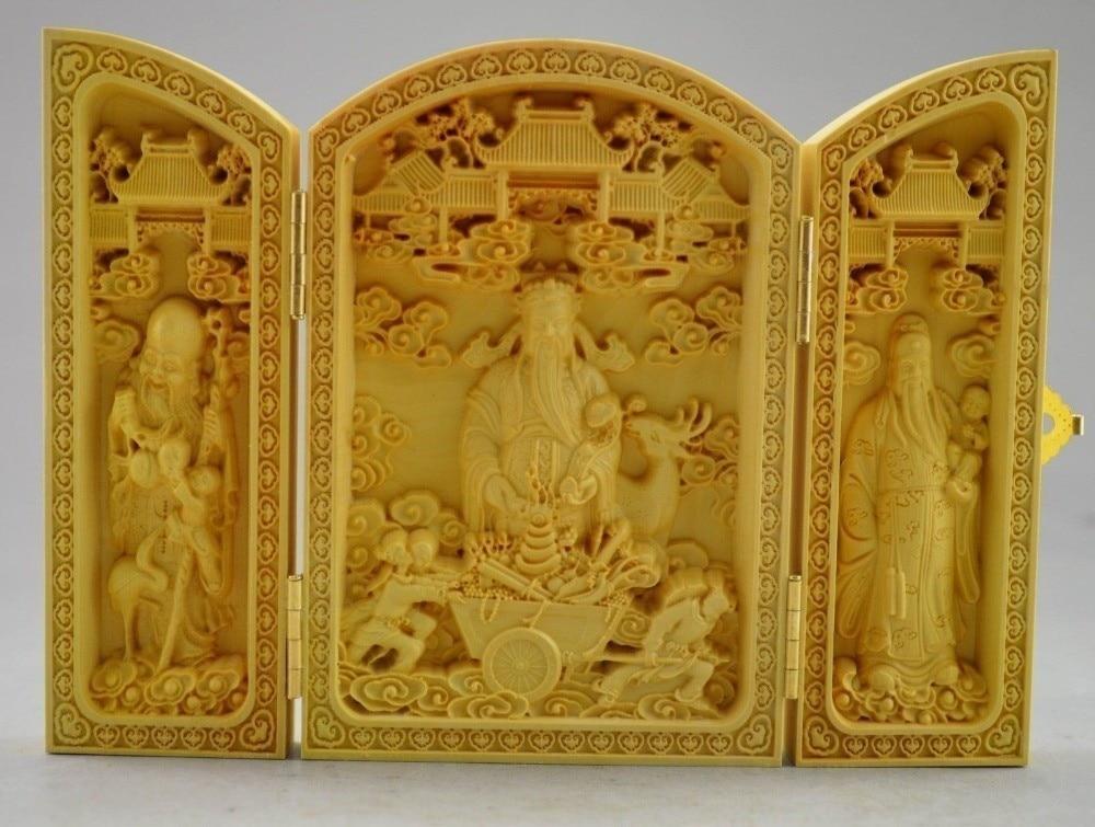 CAJA PLEGABLE 100% estatua de Dios de la riqueza tallada de gran dificultad de boj decorada
