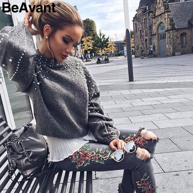 BeAvant perla Jersey de punto con cuello alto para invierno mujeres de manga larga gris pullover femenino cálido otoño casual jumper pull femme