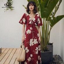 Bella Philosophy Original Design Boho holiday V Neck Belt Up Four Leaf Clover Pattern Print Flowers Elegant Mid-Calf Dress