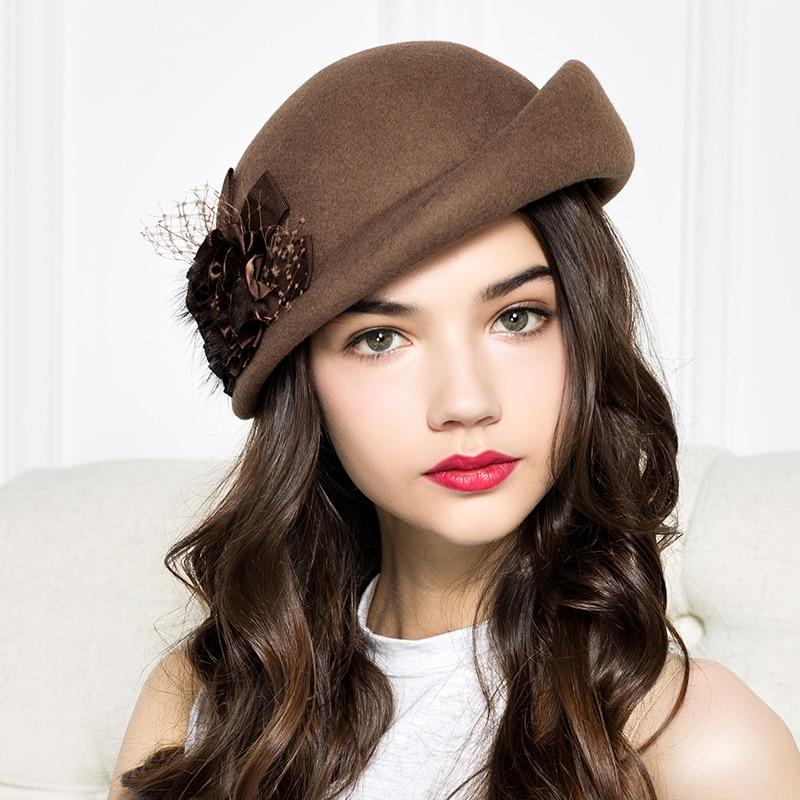 100% Wool Felt Berets Women Autumn And Winter Party Gauze Flower Formal Hat Banquet Grace Woolen Hats