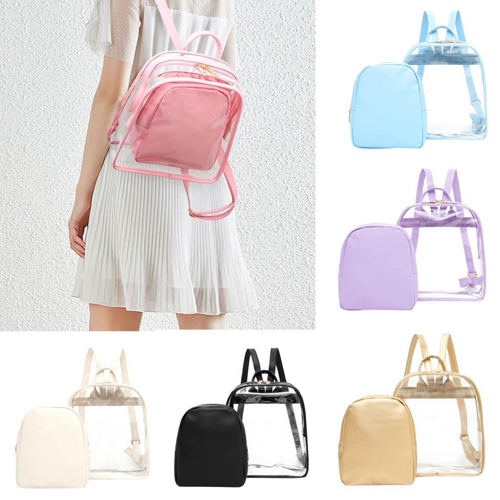 Mochila de mujer, mochila escolar de plástico transparente 2019, mochila de seguridad transparente para mujer, bolsa de viaje