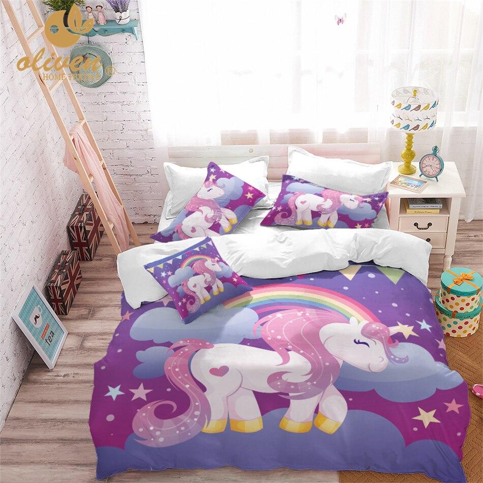 Ropa de cama de unicornio, juego de edredón de diseño púrpura, funda de edredón con estampado de animales de dibujos animados, línea de cama para habitación de niñas princesas, 3 uds. US/AU/RU