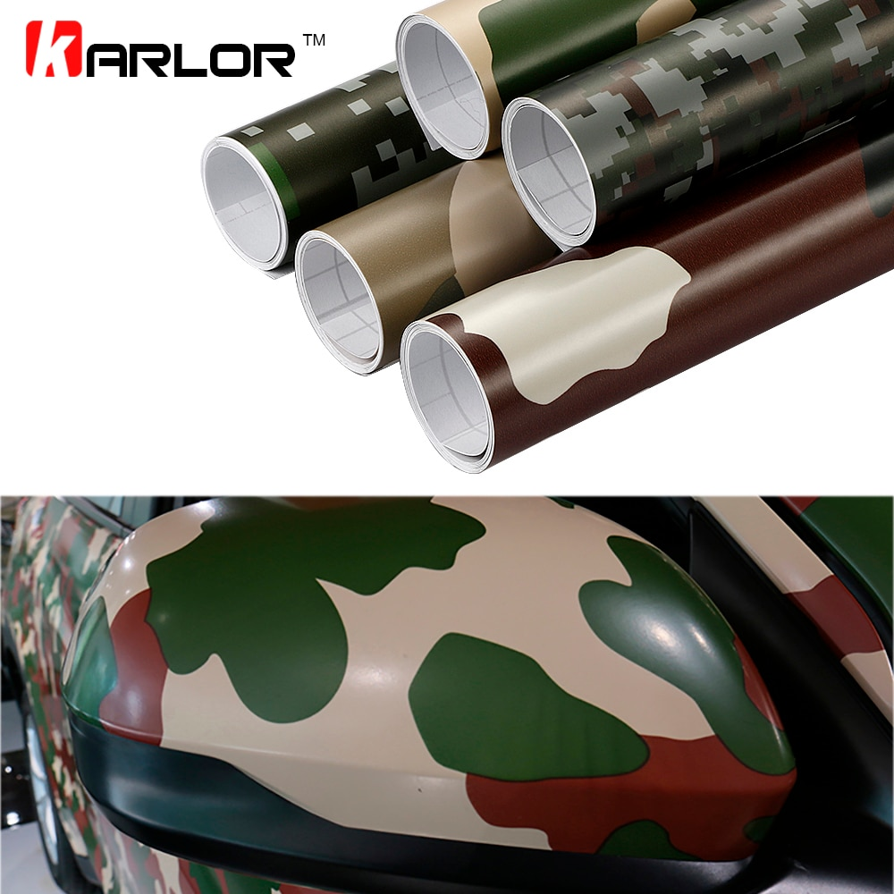 30cm * 100cm vinilo de camuflaje pegatina PVC para coche película envolvente Digital Woodland ejército verde militar Camo desierto Calcomanía para Auto motocicleta