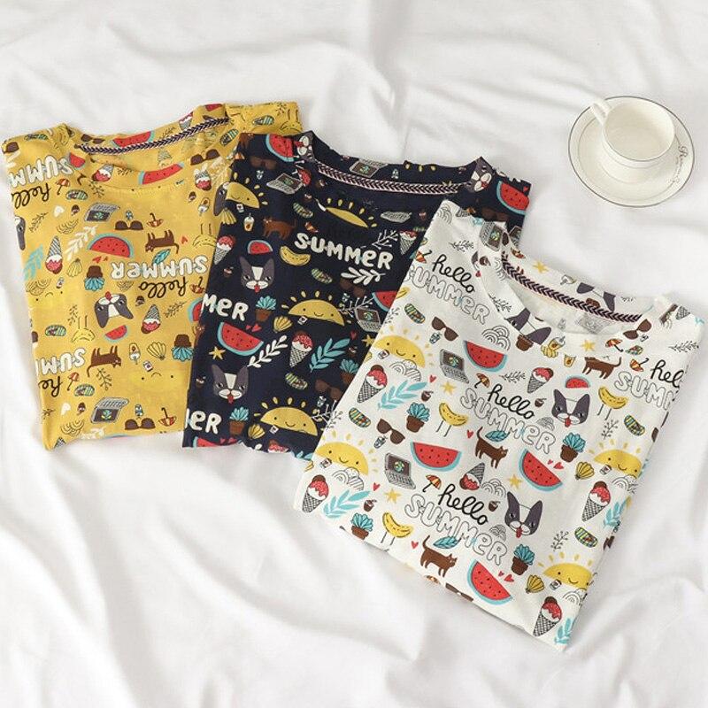 Verano de las mujeres camisetas Kawaii Graffiti de impresión de dibujos animados Camiseta larga caída de hombro de Hip-Hop elementos Harajuku camisetas Tops Linda
