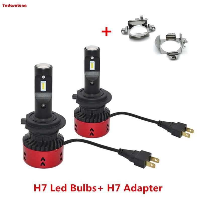 Paar 55W Canbus H7 LED Scheinwerfer Birne Auto Scheinwerfer + 2 PCS H7 Halter Adapter Für Benz Audi BMW z4 X5 VW Jetta Neue Bora Sagitar