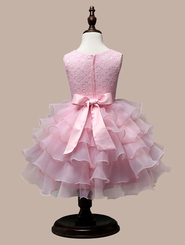 0-7 Years Mutlti Layer White Pink Flower Girl Dress 10