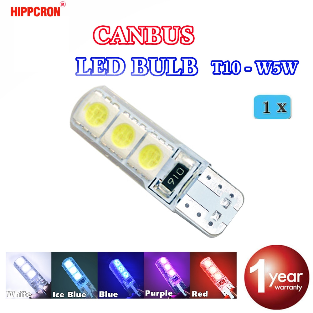 Hippcron T10 194 W5W 6SMD 5050 Silikon shell Led-leuchten Birne Canbus Auto LED 1 PCS