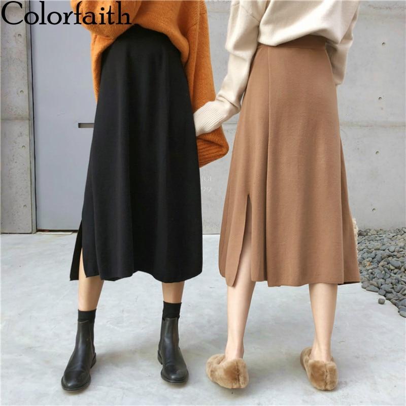 Colorfaith nouveau 2019 automne hiver femmes jupe plissée fente tricot élégant dames décontracté mode taille haute Femininas SK4256