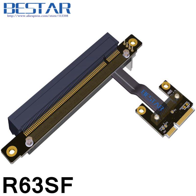 Mini PCIe Half MSATA mPCIe a PCIe 16x PCI-E Riser x16 tarjeta adaptadora diseño de codo ángulo recto 8Gbps para minería bitcoin miner