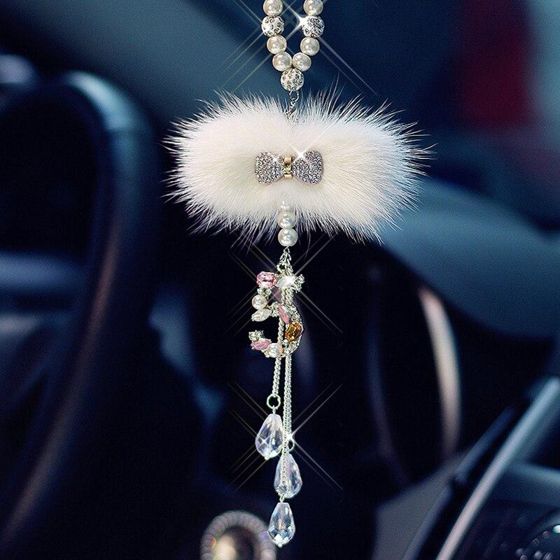 Accessoire de suspension de voiture en cristal pour filles, pendentif avec nœud papillon, miroir arrière de voiture, ornement dintérieur de luxe en cristal