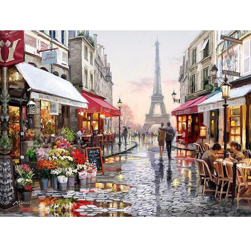 5D DIY Diamante Pintura completa Natureza Paris Rua Strass Mosaic Needlework Bordado Ponto Cruz Pintura Wall Decor JS291