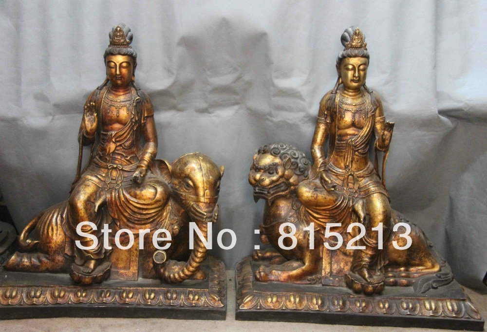 bi00305 Copper Bronze Manjusri Samantabhadra Guanyin Kwan-yin Bodhisattva Buddha Statue