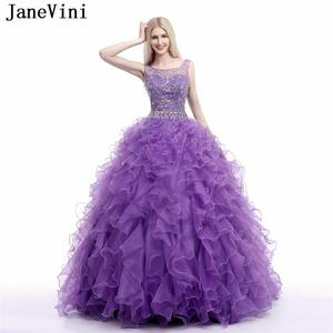 JaneVini Elegant Purple Plus Size Quinceanera Dresses Ball Gown 2019 Scoop Neck Crystal Beaded Organza Prom Dress Vestidos De 15