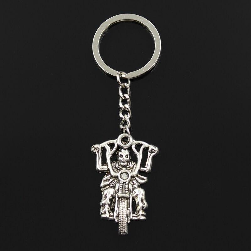 Nuevo llavero de moda 44x28mm esqueleto motocicleta colgantes DIY hombres joyería coche llavero con anilla soporte Souvenir para regalo