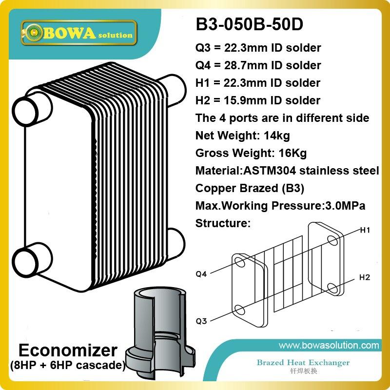 B3-050-50D es una gran opción como intercooler entre los ciclos de refrigeración de 8HP y 6HP para obtener-40 ~-90C de baja temperatura