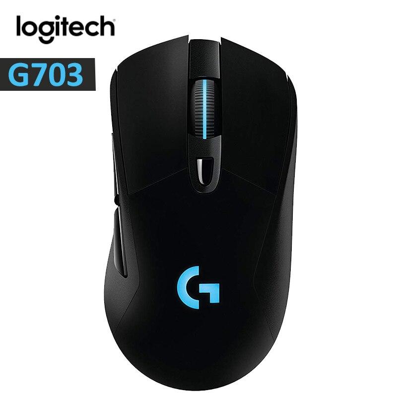 Ratón inalámbrico para juegos Logitech G703 con RGB para ratón gamer 12000DPI PMW3366 Sensor 2,4 ratón óptico GHz