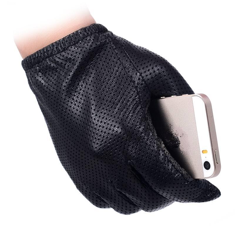 Мужские модные перчатки из натуральной овчины, короткие дизайнерские перчатки с сенсорным экраном, перчатки из натуральной кожи, сетчатые перчатки для вождения, LG024