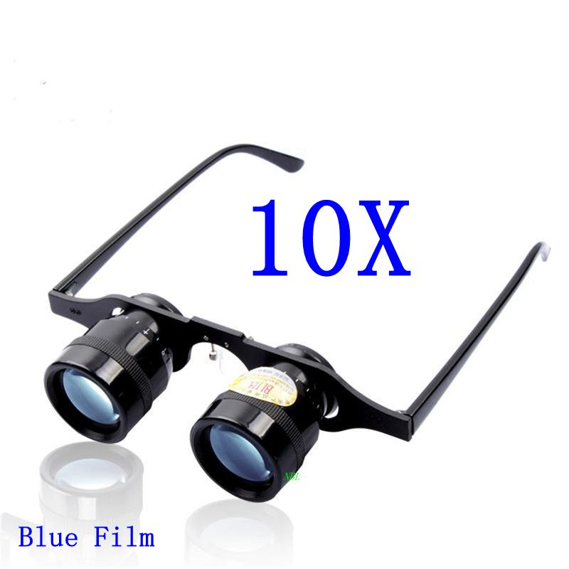 BIJIA 10X المكبرة مجهر 10*34 مللي متر الأزرق فيلم HD تلسكوب المكبر كرة القدم أوبرا الصيد البصريات عدسة العدسة نظارات