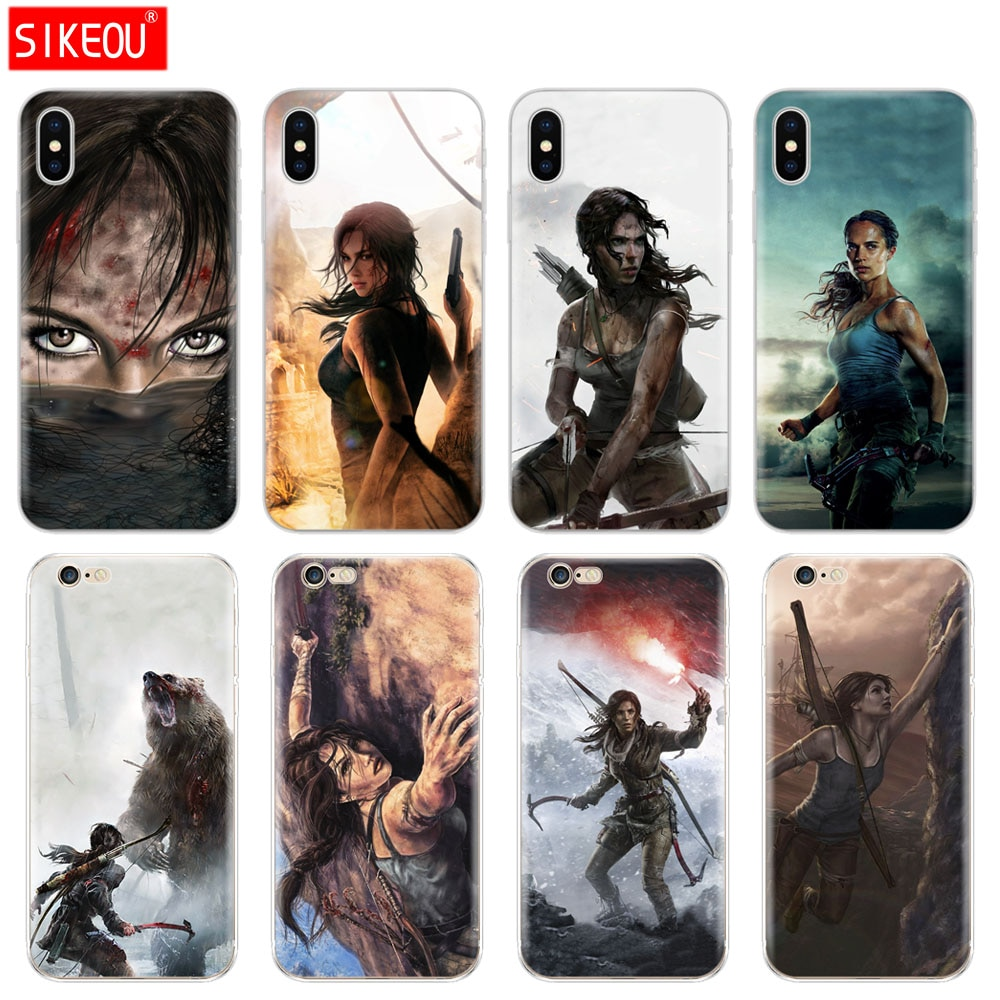 Silicon Cover Phone Case Voor Iphone 6X8 7 6 S 5 5 S Se 2020 Plus 10 Xr xs 11 Pro Max Case Stijgen Van De Tomb Raider