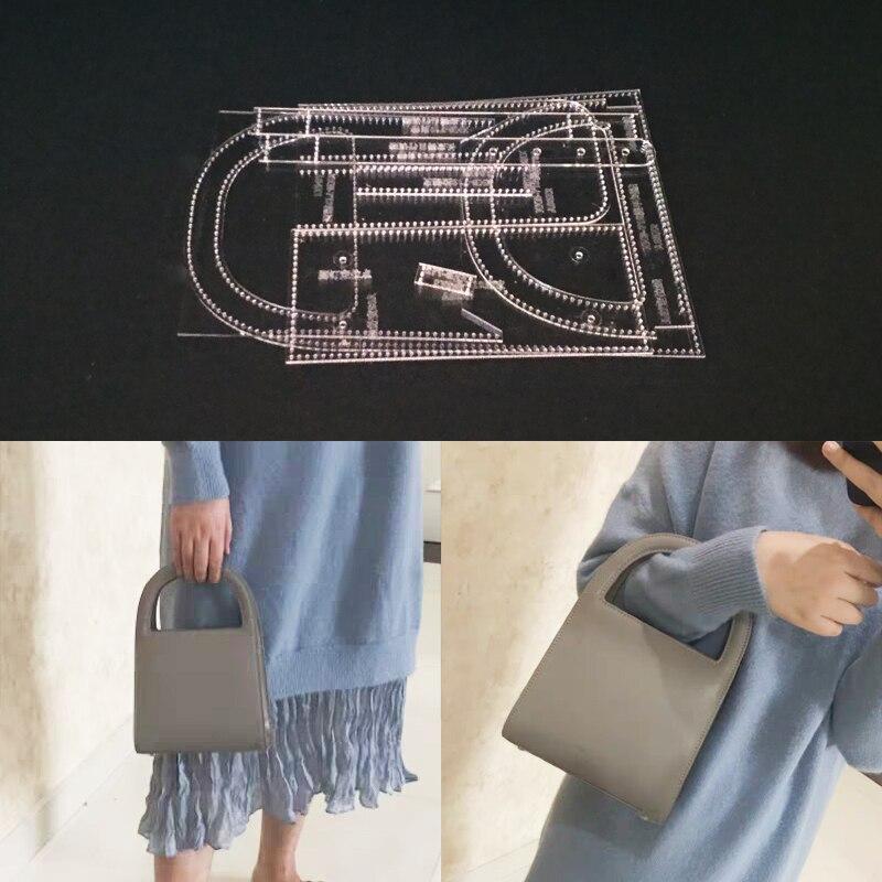 1 Juego de plantillas de Cuero Acrílico DIY para costura Artesanal de cuero para el hogar, accesorios para bolso de hombro 250x180x80mm