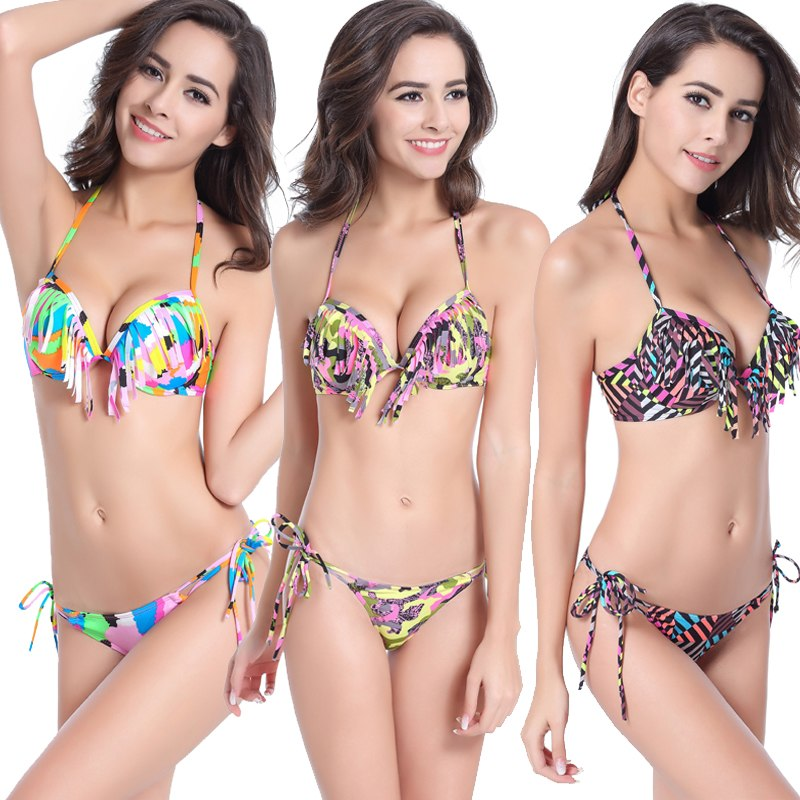 Wild Print Underwire Cup Swimsuit Women 2019 Fringe Bikini Push Up Top Swimwear Female Sexy Swimsuit Neck Halter Tassel Bikini
