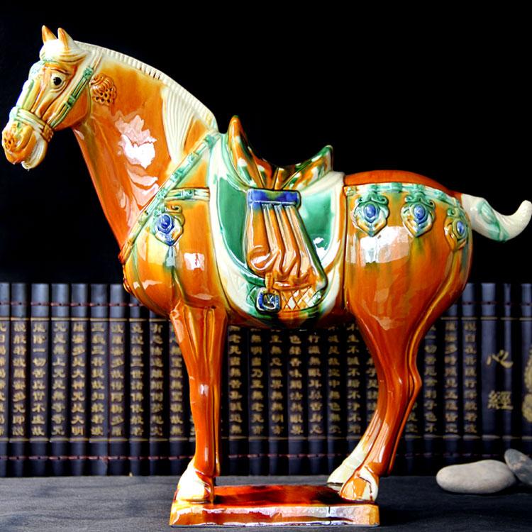Regalo nacional de CHINA, decoración superior de oficina para habitación de negocios, arte RETRO, escultura de caballo de cerámica esmaltada de tres colores