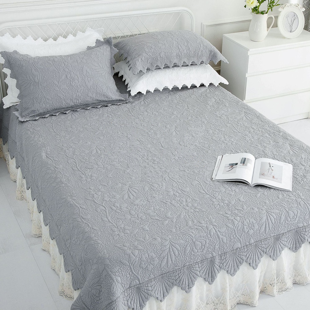 سميكة المفرش على السرير لحاف مجموعة 3 قطعة غطاء سرير مطرز كوريا غطاء سرير مصنوع من القطن الملك الحجم الصيف بطانية Double