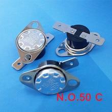 (10 pcs/lot) Normally Open Thermostat, Temperature Switch, NO 50 Celsius KSD301 10A 250V .