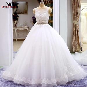 Robe De Mariee New Arrival 2021 Lace Beaded Sashes Floor Length Wedding Dress Vestidos De Novias Backless Wedding Gown HC100