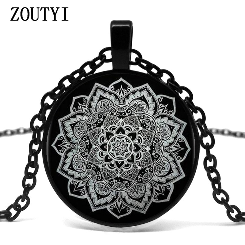 2018/COLLAR COLGANTE de cristal de Mandala indio flor tatuaje de flor cadena negra COLLAR COLGANTE joyería.