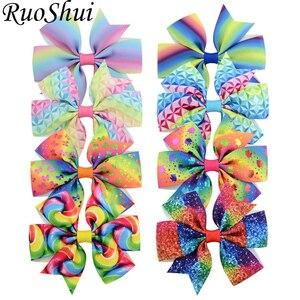 8PCS Rainbow Mermaid Bowknot Print Grosgrain Ribbon Hair Bows Kids Hairpins Colorful Hair Clips Headware Girls Hair Accessories