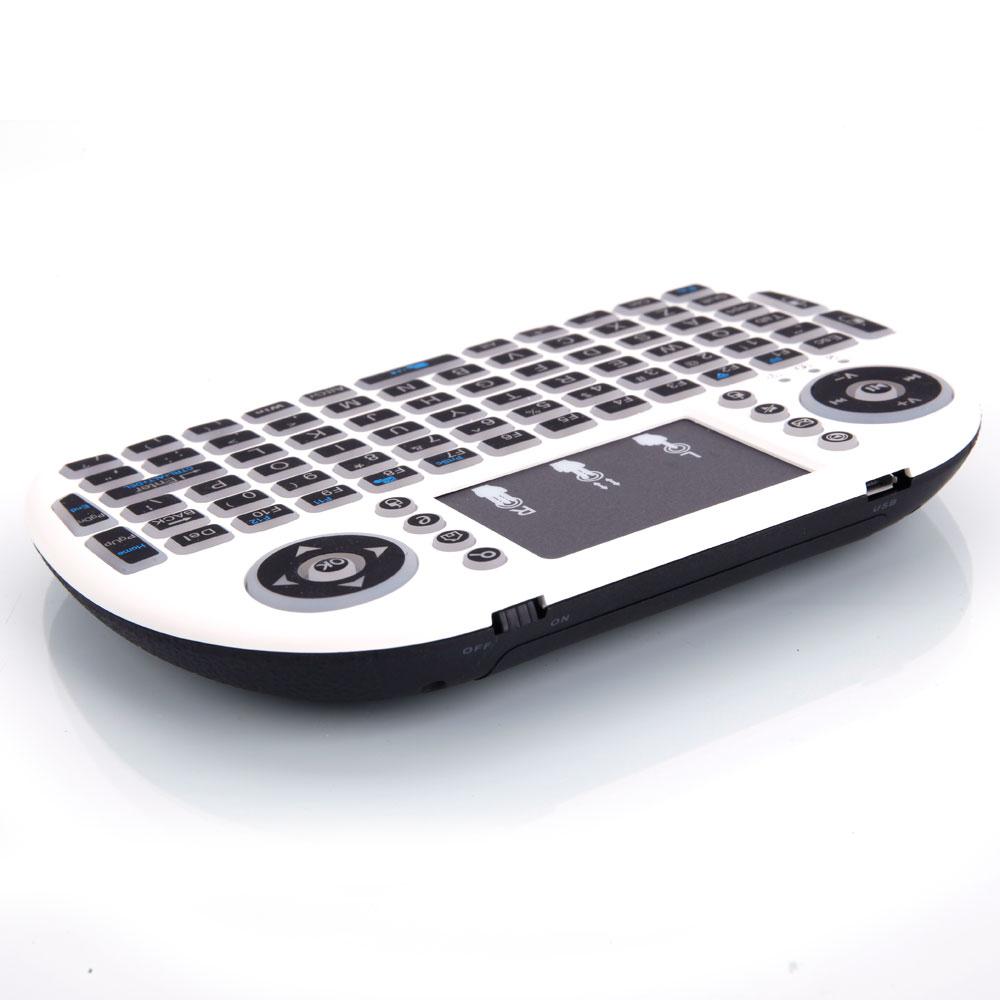 MINI i8 2,4 GHz 3-color Backlight teclado inalámbrico con Touchpad blanco SD998