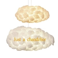 ac110 220v e27 cloud chandeliers modern creative romantic white silk cotton lamp led light floating light living room bedroom
