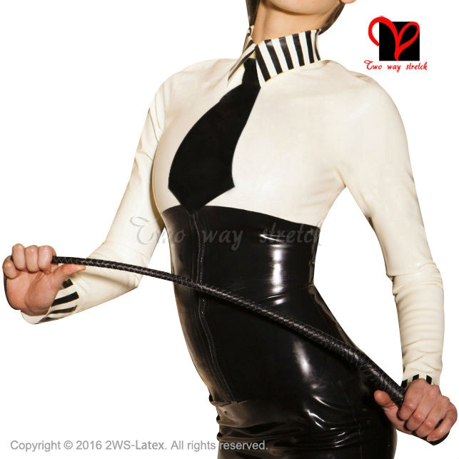 Sex School Mistress Latex blouse with black tie long sleeves Rubber uniform shirt top Gummi clothes clothing XXXL plus SY-031
