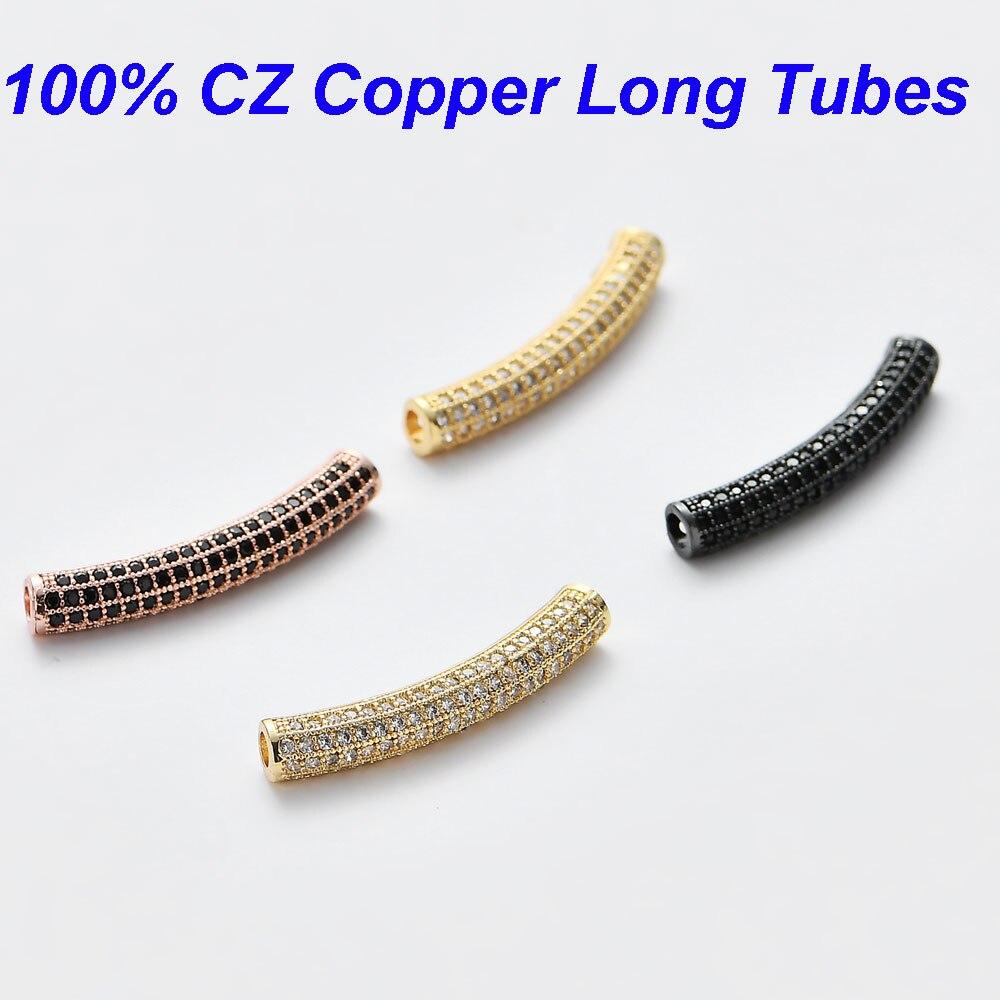 Vnistar 5*31.5mm cz longo tubo contas para diy jóias encontrando suprimentos micro pavimentar zircônia cúbica curvado longo tubo encantos atacado